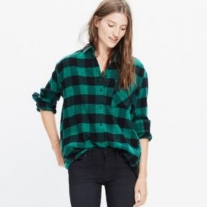 Madewell Green Black Oversized Check Flannel Shirt
